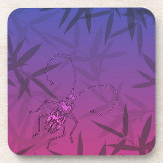 Insect Bamboo leaves Pink and Blue Unique Pattern Coaster