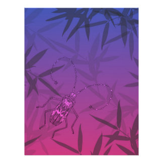 Insect Bamboo leaves Pink and Blue Unique Pattern Letterhead