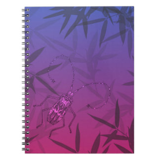 Insect Bamboo leaves Pink and Blue Unique Pattern Notebook