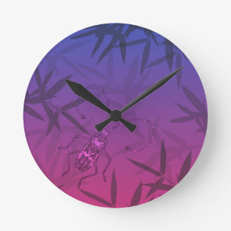 Insect Bamboo leaves Pink and Blue Unique Pattern Round Clock
