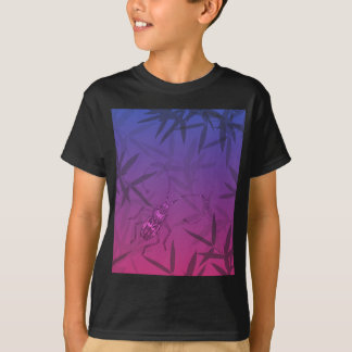 Insect Bamboo leaves Pink and Blue Unique Pattern T-Shirt