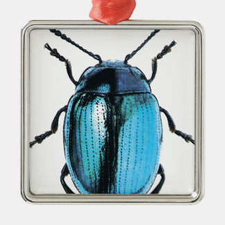 insect blue ladybird fluo fashion Silver-Colored square ornament