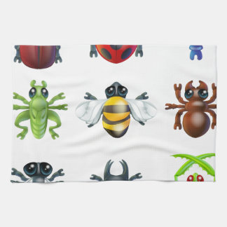Insect bug icons kitchen towel