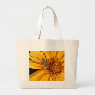 Insects On Big Orange Flower Macro Tote Bags