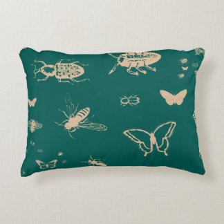Insects pattern, deep opal green decorative pillow