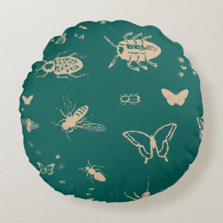 Insects pattern, deep opal green round pillow