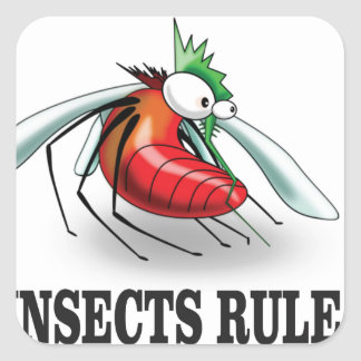 insects rule square sticker