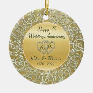 Insert Years Wedding Anniversary Round Ceramic Ornament