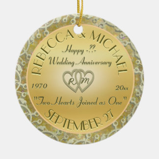 Insert Years Wedding Gold Wedding Anniversary Round Ceramic Ornament