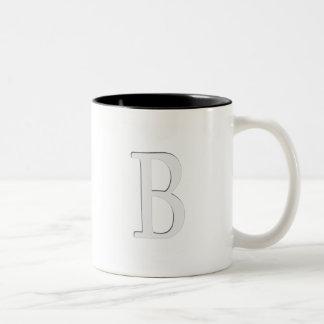 Inset Monogrammed Letter B Two-Tone Coffee Mug