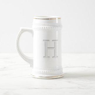 Inset Monogrammed Letter H 18 Oz Beer Stein