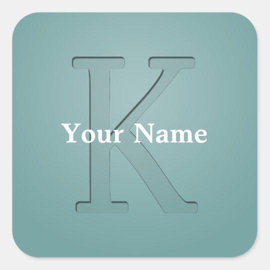 Inset Monogrammed Letter K Square Sticker