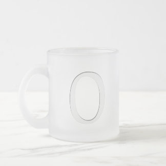 Inset Monogrammed Letter O Frosted Glass Coffee Mug