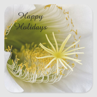 Inside of an Echinopsis in bloom Happy Holidays Square Sticker