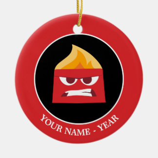 Inside Out | Angry Face Add Your Name Ceramic Ornament