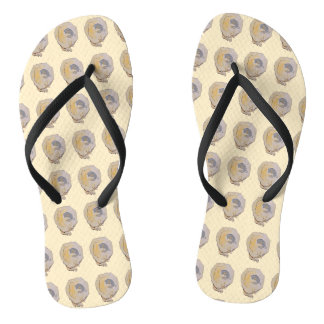 Inside Oyster Watercolor Pattern Flip Flops