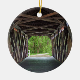 Inside Sandy Creek Bridge Hillsboro Missouri Round Ceramic Ornament