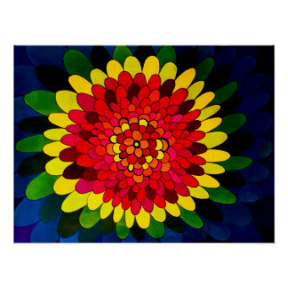 Inside The Petal - abstract drawing, muli-color Poster