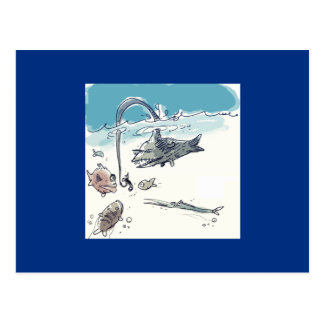 insidious fish hunts another fishes funny cartoon postcard