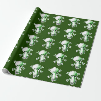 insidious skull looking sly funny cartoon wrapping paper
