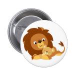 Insigne affectueux mignon de papa de lion de bande macaron rond 5 cm