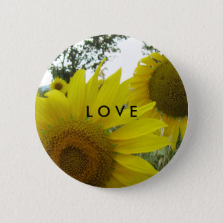Insigne d'amour de photo de tournesols macaron rond 5 cm