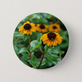 Insigne rond de fleur de photo jaune de fleur macaron rond 5 cm