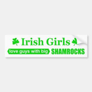 Insinuation drôle de filles shamrocks irlandais autocollant de voiture