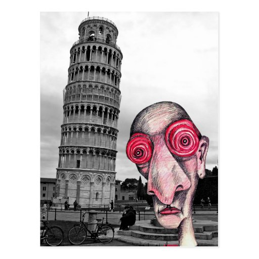 "Insomniac Visits ""The Leaning Tower of Pisa"" Post Cards"
