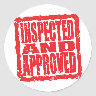 Inspected and Approved Round Sticker