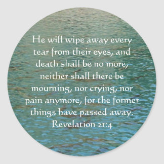Inspiration and Strength Bible Verse Revelation 21 Classic Round Sticker