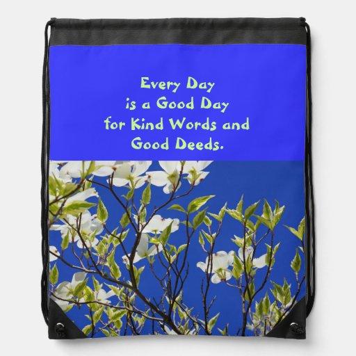 Inspiration Drawstring Backpack Kind Words Deeds