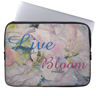 Inspiration Floral Watercolor Art Laptop Sleeve