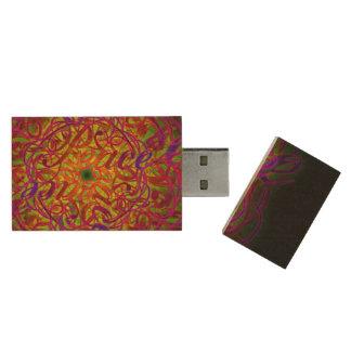"Inspiration Mandala - ""Peace"" 16GB 2.0 Wood USB Flash Drive"