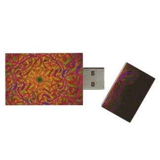 "Inspiration Mandala - ""Peace"" 16GB 3.0 Wood USB 3.0 Flash Drive"