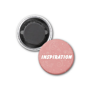 Inspiration on Pink Swirly Background 1 Inch Round Magnet