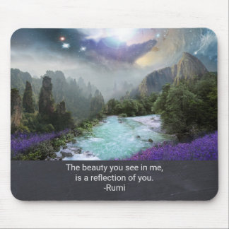 Inspiration Quotation from Rumi with Nature Image Mouse Pad