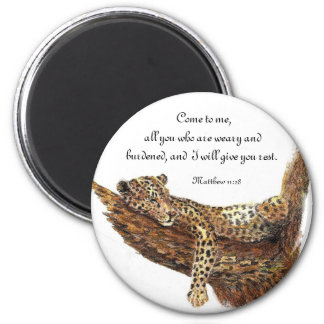 Inspiration Scripture, Watercolor Leopard Animal 2 Inch Round Magnet