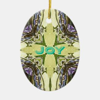 Inspirational Abstract Cross Center 'Joy' Shape Ceramic Oval Ornament