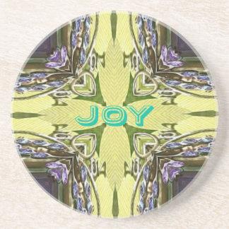 Inspirational Abstract Cross Center 'Joy' Shape Coaster