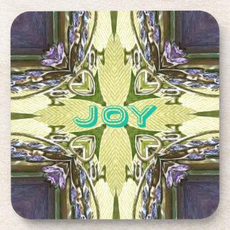Inspirational Abstract Cross Center 'Joy' Shape Drink Coaster