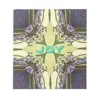 Inspirational Abstract Cross Center 'Joy' Shape Notepads