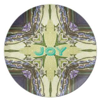 Inspirational Abstract Cross Center 'Joy' Shape Party Plate