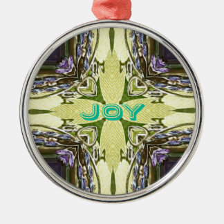 Inspirational Abstract Cross Center 'Joy' Shape Silver-Colored Round Ornament