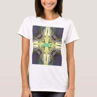 Inspirational Abstract Cross Center 'Joy' Shape T-Shirt