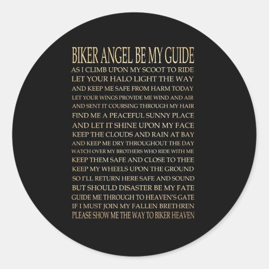 Inspirational Art - Biker Angel Classic Round Sticker