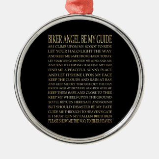 Inspirational Art - Biker Angel Silver-Colored Round Ornament