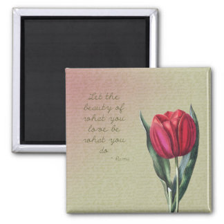 Inspirational Beauty Tulip Square Magnet