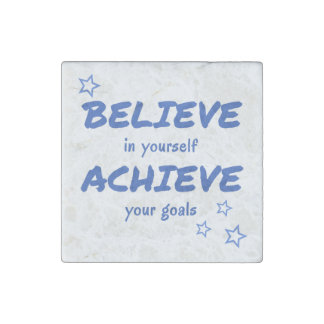 Inspirational Believe Achieve Quote Stone Magnets