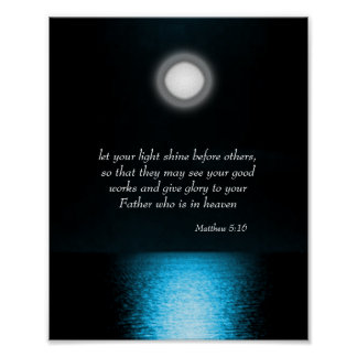 Inspirational Bible Scripture Let Your Light Shine Poster